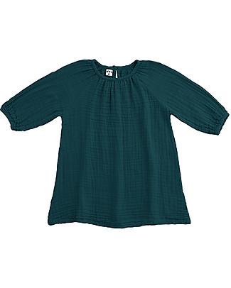 Numero 74 Abito Bimba Nina, Verde Petrolio (3-4 anni) - Doppia Mussola di Cotone Vestiti