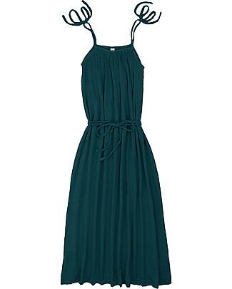 Numero 74 Abito Donna Mia - Verde Petrolio - Doppia Mussola di Cotone Vestiti