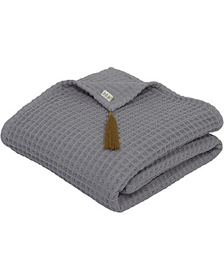 Numero 74 Asciugamano in Cotone Organico a Nido d'Ape, Grigio Pietra - 50x90 cm Accappatoi e Asciugamani