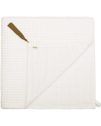 Numero 74 Asciugamano in Cotone Organico a Nido d'Ape, Natural - 50x90 cm Accappatoi e Asciugamani