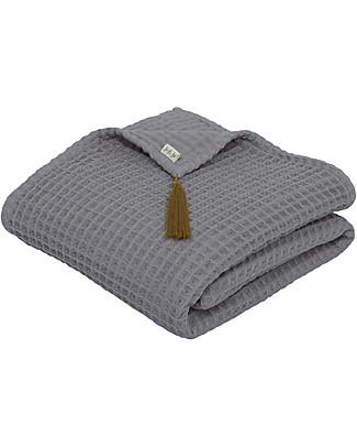 Numero 74 Asciugamano in Cotone Organico Nido d'Ape, Grigio Pietra - 70x140 cm Accappatoi e Asciugamani