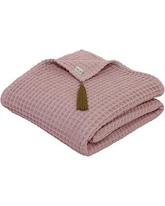 Numero 74 Asciugamano in Cotone Organico Nido d'Ape, Rosa Antico - 50x90 cm Accappatoi e Asciugamani