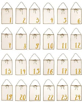 Numero 74 Calendario dell'Avvento in Tessuto, Natural - 24 borsettine in cotone bio riutilizzabili! Calendari Dell'Avvento