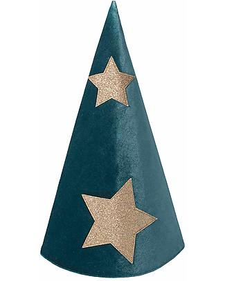 Numero 74 Cappello da Mago Merlino - Velluto - Verde Petrolio stelle oro Travestimenti