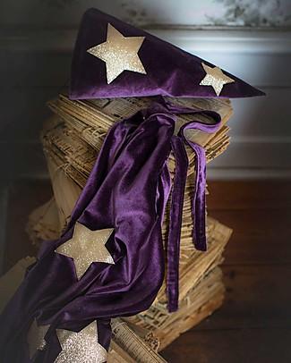 Numero 74 Cappello da Mago Merlino - Viola Scuro con Stelle Oro - Velluto - Nuova Bohemian Collection Travestimenti