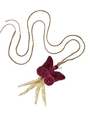 Numero 74 Collana Uncinetto Farfalla Velluto - Rosso - Regalino perfetto per le feste Regalini
