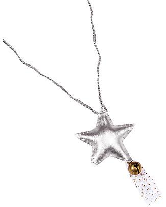 Numero 74 Collana Uncinetto Stella con Campanellino - Argento Metallizzata - Regalino perfetto per le feste Regalini