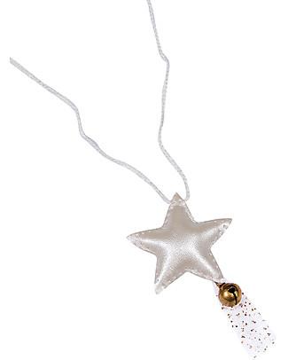 Numero 74 Collana Uncinetto Stella con Campanellino - Crema metallizzata - Regalino perfetto per le feste Regalini
