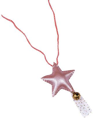 Numero 74 Collana Uncinetto Stella con Campanellino - Rosa Antico - Regalino perfetto per le feste Regalini