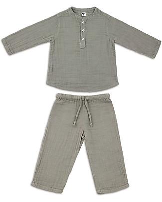 Numero 74 Completo Casacca e Pantaloni Dan, Argento - 100% cotone (1/4 anni) Tutine Lunghe Senza Piedi