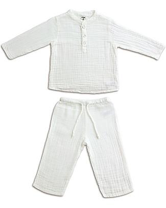 Numero 74 Completo Casacca e Pantaloni Dan, Bianco - 100% cotone (1/4 anni) Completi