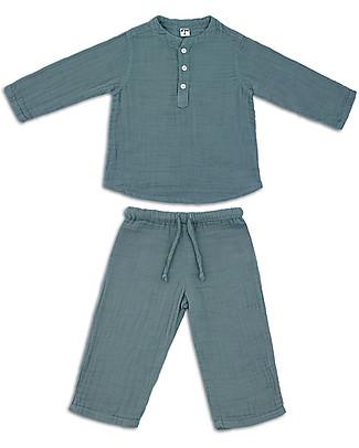 Numero 74 Completo Casacca e Pantaloni Dan, Blu Ghiaccio - 100% cotone (1/4 anni) Tutine Lunghe Senza Piedi