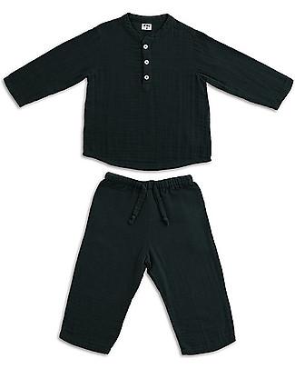 Numero 74 Completo Casacca e Pantaloni Dan, Grigio Scuro - 100% cotone (1/4 anni) Tutine Lunghe Senza Piedi