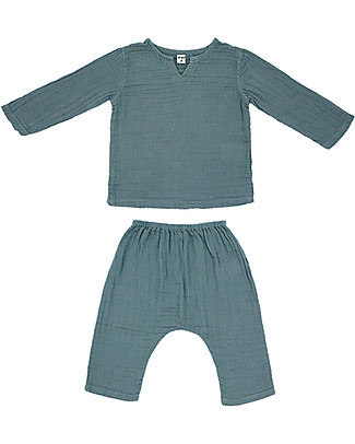 Numero 74 Completo Casacca e Pantaloni Zac,  Azzurro Ghiaccio (5-6 anni) - 100% cotone bio Cerimonia