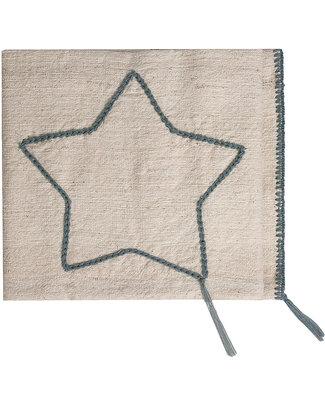 Numero 74 Coperta Stella Ricamata 110 x 80 - Ricamo Grigio - 100% Cotone Coperte
