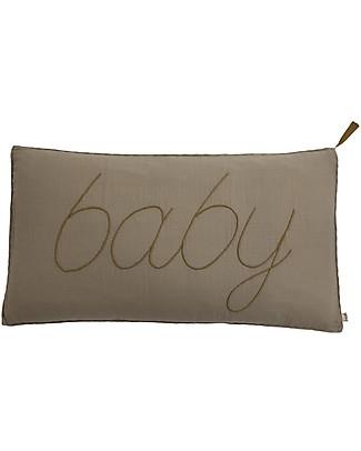 Numero 74 Cuscino Baby 30x40 cm - Beige Ricamo Oro Cuscini