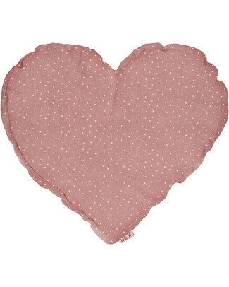 Numero 74 Cuscino Cuore Medio - Rosa Antico con Stelline Bianche Cuscini Arredo