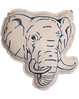 Numero 74 Cuscino Elefante - Ricamo Verde Petrolio Cuscini Arredo