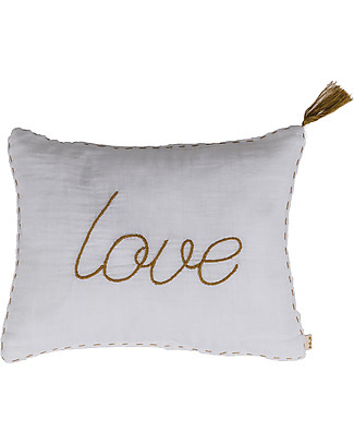Numero 74 Cuscino Love 30x40 cm- Bianco Ricamo Oro Cuscini