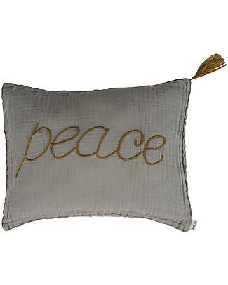 Numero 74 Cuscino Peace 30x40 cm - Argento Ricamo Oro Cuscini