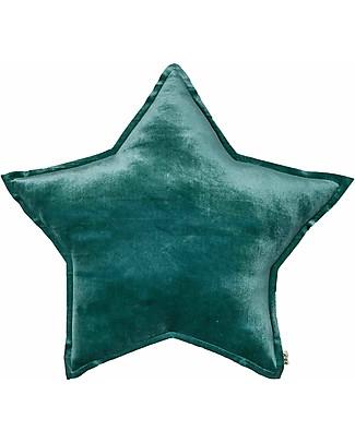 Numero 74 Cuscino Stella Medium in Velluto, Verde Petrolio - S022 Cuscini Arredo