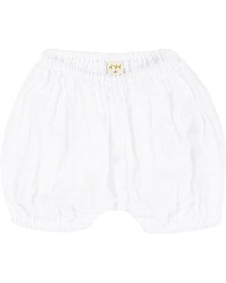 Numero 74 Emi Pantalone a Palloncino Copripannolino, Bianco - Cotone Bio (3-6 mesi) Pantaloni Corti