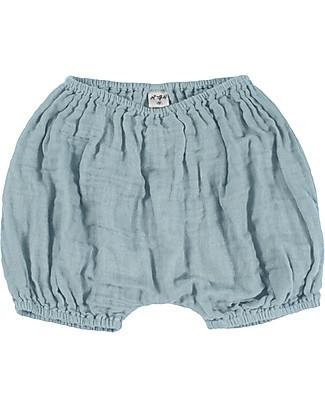 Numero 74 Emi Pantalone a Palloncino Copripannolino, Celeste - Cotone Bio (9-12 mesi) Pantaloni Corti