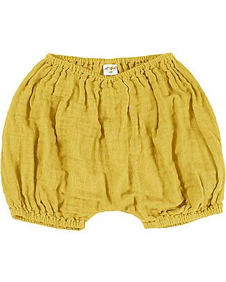 Numero 74 Emi Pantalone a Palloncino Copripannolino, Giallo Girasole - Cotone Bio (3-6 mesi) Pantaloni Corti
