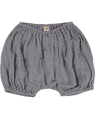 Numero 74 Emi Pantalone a Palloncino Copripannolino, Grigio Pietra - Cotone Bio (3-6 mesi) Pantaloni Corti