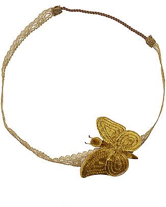 Numero 74 Fascia per Capelli con Farfalla Velluto - Oro - Nuova Bohemian Collection Fermacappelli