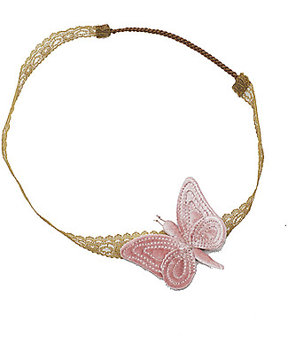Numero 74 Fascia per Capelli con Farfalla Velluto - Rosa Antico - Nuova Bohemian Collection Fermacappelli