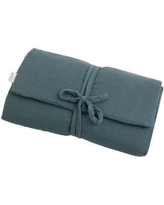 Numero 74 Fasciatoio Portatile - Blu Ghiaccio - Doppia Mussola di Cotone Fasciatoi Da Viaggio