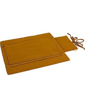 Numero 74 Fasciatoio Portatile - Oro - Doppia Mussola di Cotone Fasciatoi Da Viaggio