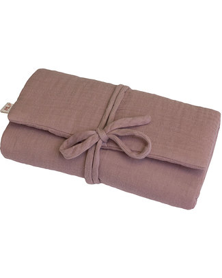 Numero 74 Fasciatoio Portatile - Rosa Antico - Doppia Mussola di Cotone Fasciatoi Da Viaggio