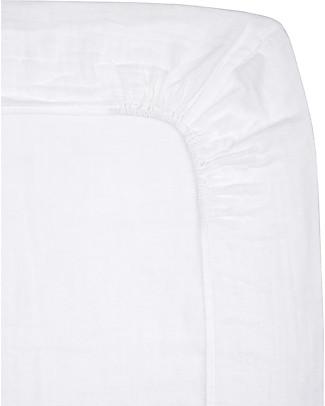 Numero 74 Lenzuolino con Angolo per Fasciatoio  50x70 cm, Bianco - Cotone -  Comprende 2 mussole Coperte