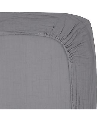 Numero 74 Lenzuolino con Angolo per Fasciatoio  50x70 cm, Grigio Pietra - Cotone bio -  Comprende 2 mussole Coprifasciatoi e Imbottiture