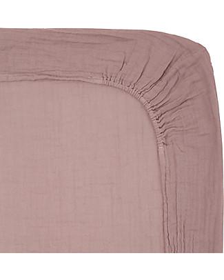 Numero 74 Lenzuolino con Angolo per Fasciatoio  50x70 cm, Rosa Antico - Cotone -  Comprende 2 mussole Coprifasciatoi e Imbottiture