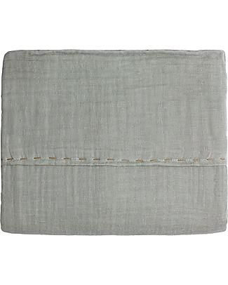 Numero 74 Lenzuolo Superiore, Argento con Ricamo Dorato - 110x170 cm - 100% doppia mussola di cotone Lenzuola