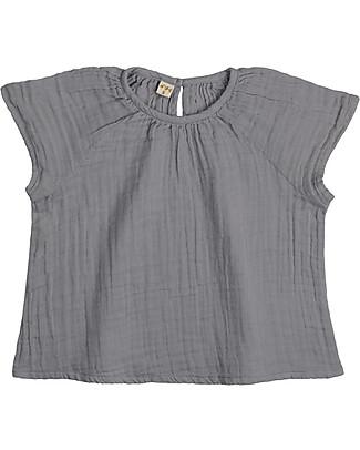 Numero 74 Maglia Bimba Clara, Grigio Pietra (3-4 anni) - 100% cotone bio Vestiti