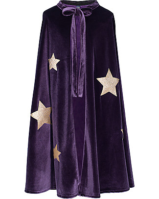 Numero 74 Mantello di Mago Merlino - Velluto - Viola Scuro con Stelle Oro - Nuova Bohemian Collection Travestimenti