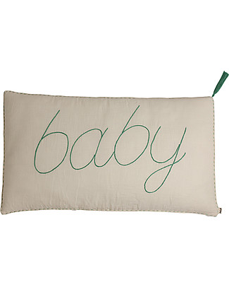 Numero 74 Message Cushion Baby - Naturale con ricamo azzurro - 40x70 cm Cuscini