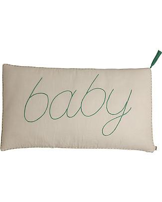 Numero 74 Message Cushion Baby - Naturale con ricamo azzurro - 40x70 cm Cuscini
