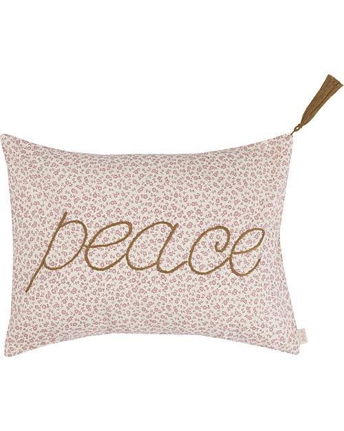 Numero 74 Message Cushion Peace - Crema con Fiori Rosa - 30x40 cm Cuscini Arredo