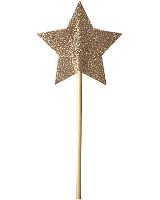 Numero 74 Mini Bacchetta Magica Glitter - Oro Travestimenti