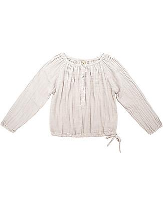 Numero 74 Naia Camicia Bimba Maniche Lunghe, Cipria - Taglia M (3-4 anni) - 100% Doppia mussola di cotone Camicie