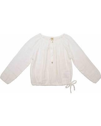 Numero 74 Naia Camicia Bimba Maniche Lunghe, Natural - Taglia L (5-6 anni) - 100% Doppia mussola di cotone Camicie