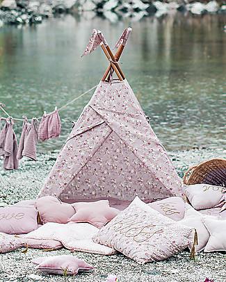 Numero 74 OUTLET Tenda Tipi, Rosa Antico con Fiori – Cotone Popeline - Pezzo di Showroom Tende Gioco