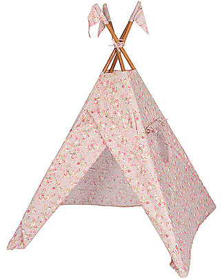 Numero 74 OUTLET Tipi Tent, Dusty Pink with Flowers – Popeline Cotton - Showroom Sample Tepees & Tents