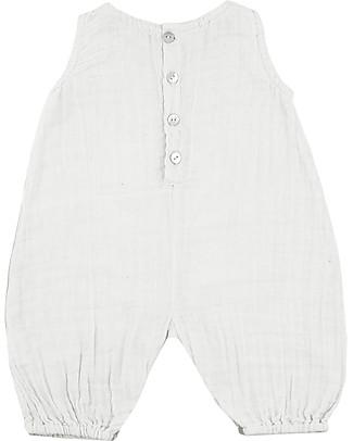 Numero 74 Pagliaccetto Stef, Bianco - Mussola di cotone (3-6 mesi) Salopette