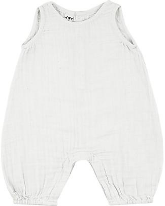 Numero 74 Pagliaccetto Stef, Bianco - Mussola di cotone (9-12 mesi) Salopette
